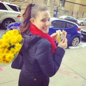 Oh just your typical Whole30 afternoon, grocery shopping, banana, almond butter... and daisies!