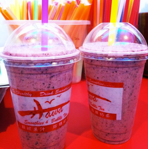 Almond milk and fruit smoothies!