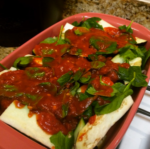Whole30 Lasagna! Eggplant, zucchini, onions, garlic, spinach, tomatoes