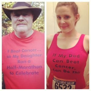 Running my first half-marathon for my cancer-fighting Dad in 2013.